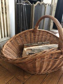 Panier à bûches en osier tressé, accessoire de cheminée