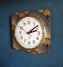 """Horloge vintage, pendule murale """"Jaz Gris doré"""""""