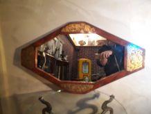miroir octogonale  or et bois   81x47  tres bonne etat
