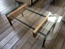 Table basse bois, metal, verre