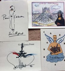 Dessins de Karl Lagerfeld, Sonia Rykiel, JC de Castelbajac