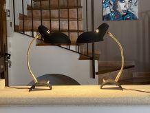 Paire de lampes Cocotte tripodes. Vintage. 1950.