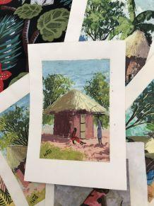 Tableau Huile Papier marouflé  Case 10.5x15cm