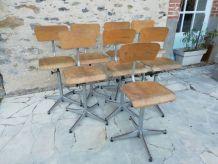 Lot de 8 chaises d'écolier/atelier/bureau