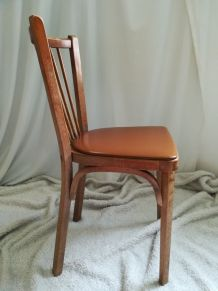 lot 4 chaises baumann bistrot vintage skai marron chocolat