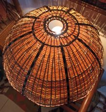 Lampe à poser vintage Osier et bois