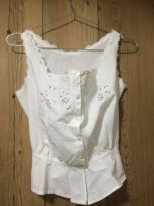 Caraco ancien en coton blanc T 36/38