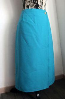 Jupe vintage marque Henri Martin coloris bleu turquoise Tail