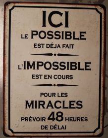 Plaque métal vintage Le possible