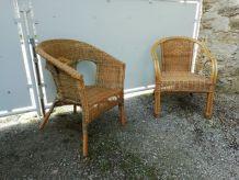Duo fauteuils rotin année 60