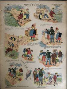 """Image d'Epinal : Editions Quantin -  """"Partie de pêche"""""""