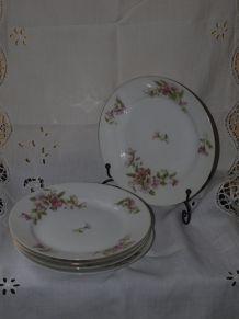 5 anciennes assiettes en porcelaine fleurie de liserons