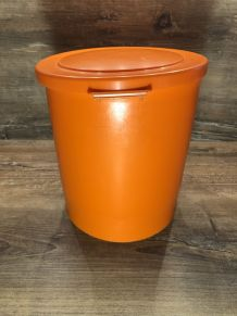Poubelle Plastique Orange - Vintage 70