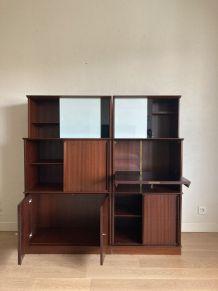 Bibliothèque vitrine en enfilade meuble Oscar vintage années