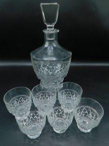 Service à cognac en cristal Art Déco