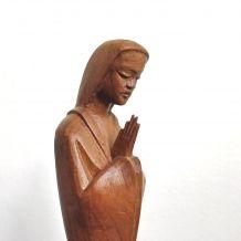 Statuette vierge en bois années 60