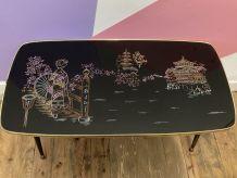 TABLE BASSE FORMICA ANNÉE 60 DÉCOR JAPONISANT PIEDS COMPAS