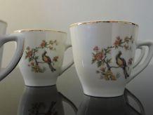 Service à café, 6 tasses, céramique, vintage