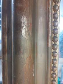 Ancien grand miroir vintage cadre en bois et platre sculpté