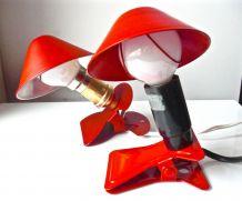2 Lampes Champignon Liseuses à Pince Rouge Pop Age 60/70s