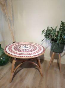 Table Basse Rotin et Mosaïque
