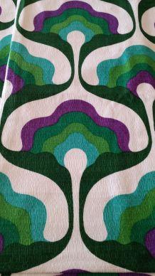 Paire rideaux vert/violet années 70