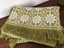 Dessus de lit vert/blanc vintage