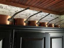 Batterie de 6 casseroles ancienne en cuivre étamé