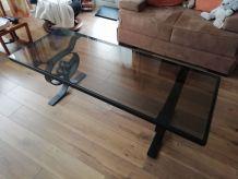 Table basse en verre et fer forgé