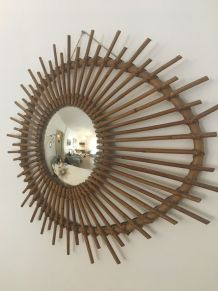 Miroir soleil rotin bombé