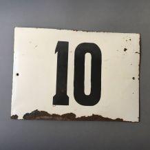 """ANCIENNE GRANDE PLAQUE DE RUE SOVIETIQUE NUMERO """"10"""""""