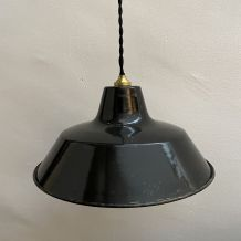 ANCIENNE SUSPENSION INDUSTRIELLE GAMELLE EMAILLEE 30 cm