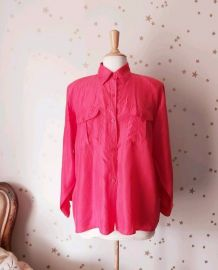 90s chemise soie rouge oversize