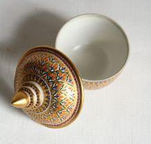Bonbonnière, boite à motif géométrique doré. Vintage.