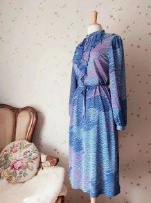 70s robe jabot imprimée bleu rose blanc L