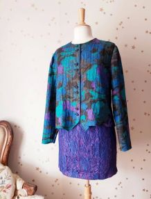 Vintage 80s veste matelassée camouflage bleu vert violet
