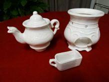 Tisanière ancienne céramique blanche veilleuse vintage