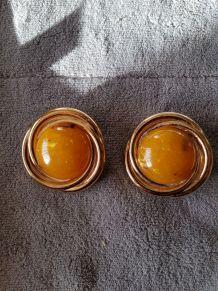 boucle d'oreille rondes avec pierre orange