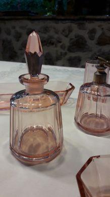 Nécessaire de toilette Art Déco verre rose Lot de 6 pièces