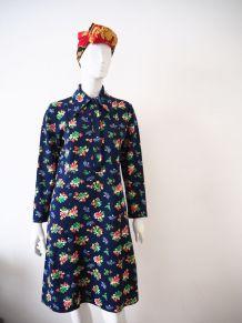 Robe chemise fleurie col pelle à tarte vintage 70's