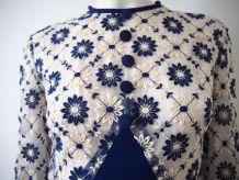 Longue robe chic tulle fleurs brodées vintage 60's 70's
