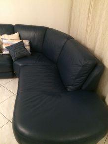 Canape d'angle en cuir couleur bleue