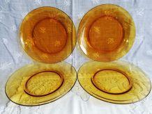 Set de 4 assiettes jaunes vintage