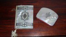 carnet de bal et porte monnaie nacre et argent