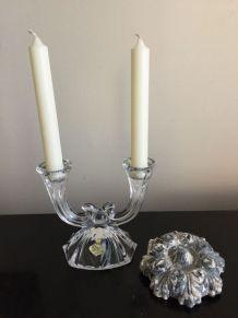 Bougeoir deux branches en cristal
