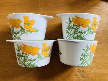 4 bols en mélamine 70S à motif floral orange et vert TEFAL