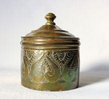 Boite, pot couvert au décor de feuillage stylisé. Vintage.