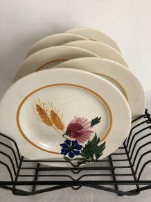 6 assiettes plates, Sarreguemines, modèle Cocorico