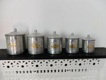 Série de 5 pots épices fer blanc