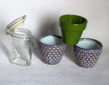 Lot de trois petits pots de fleurs plus boite verre